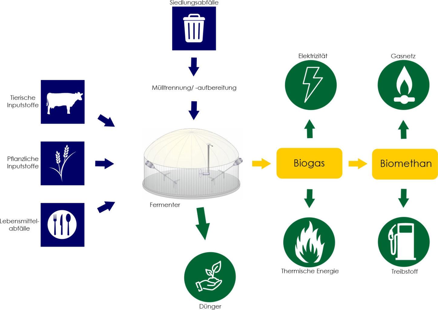 Nachhaltiger Kreislauf einer Biogasanlage - Prozessschema